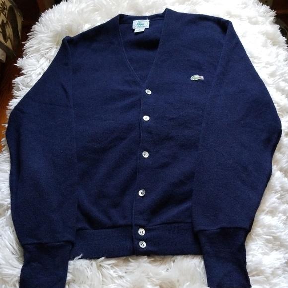 989c30794540d Men's Vintage Izod Lacoste Navy Cardigan Sweater